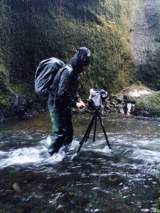 Photographing in a river with a sturdy tripod