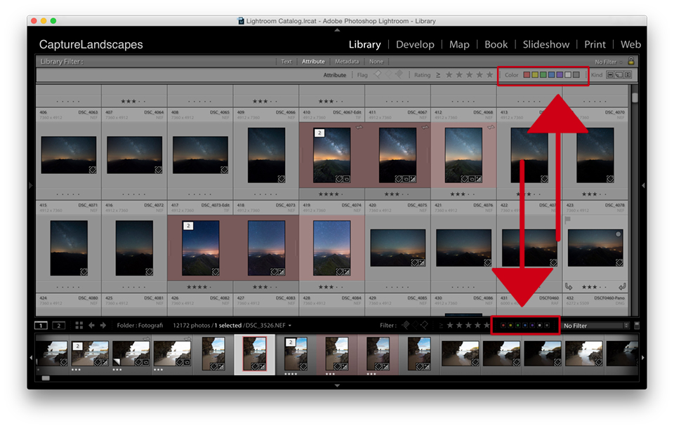 Set Color Label in Lightroom