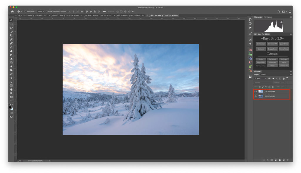 Step 1 to Blend Images Using Luminosity Masks: Open as Layers in Photoshop