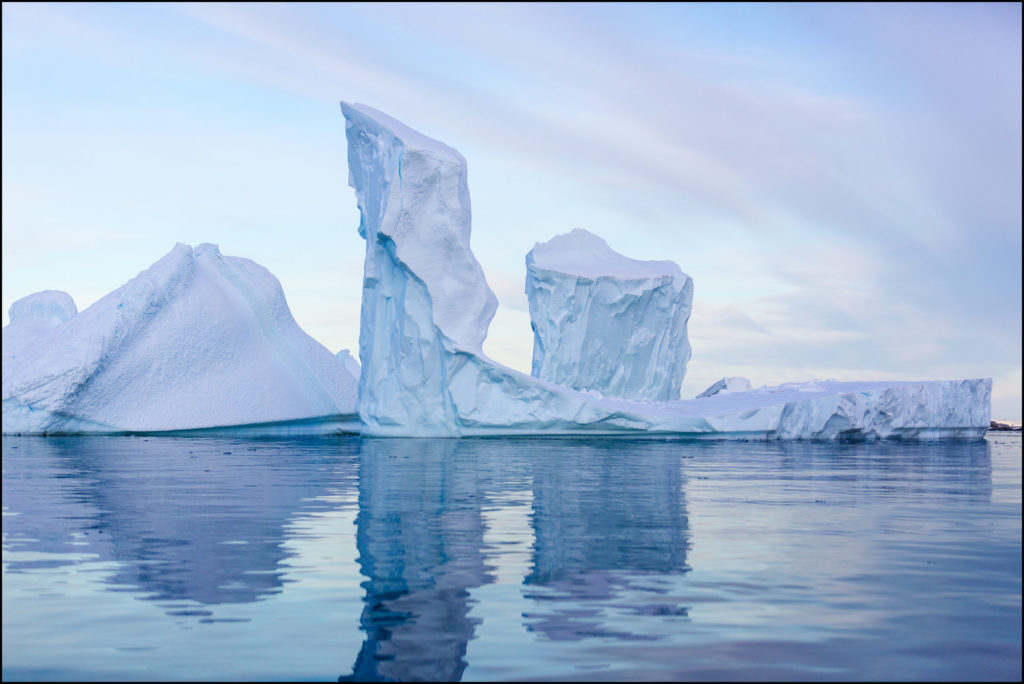Iceberg Towers at Dawn, Pleneau Bay, Antarctic Peninsula, Antarc