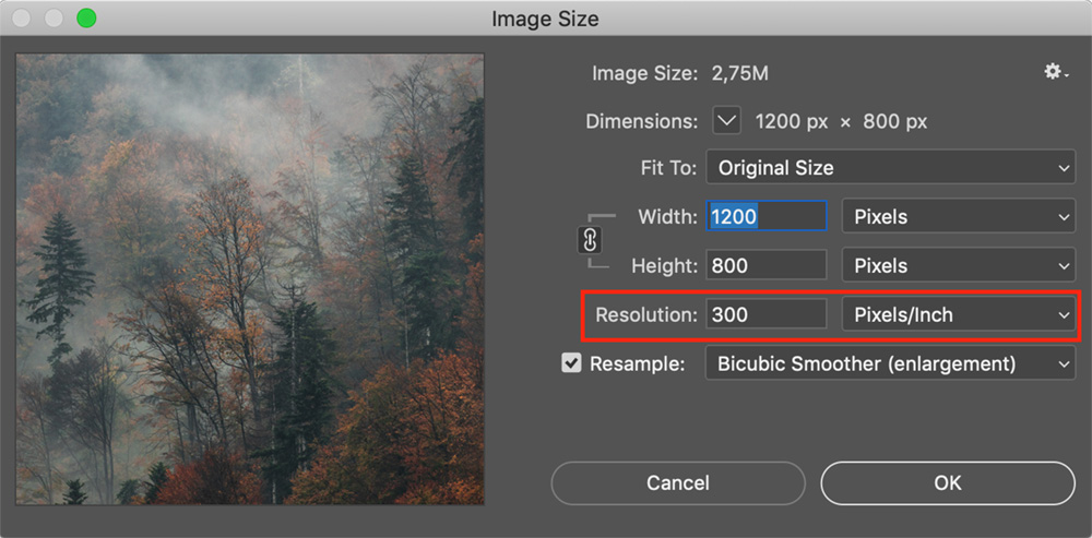 Adjusting dpi in Photoshop when preparing images for printing