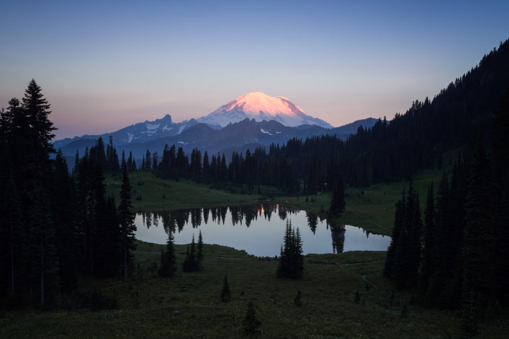 Mount Rainier sunrise glow