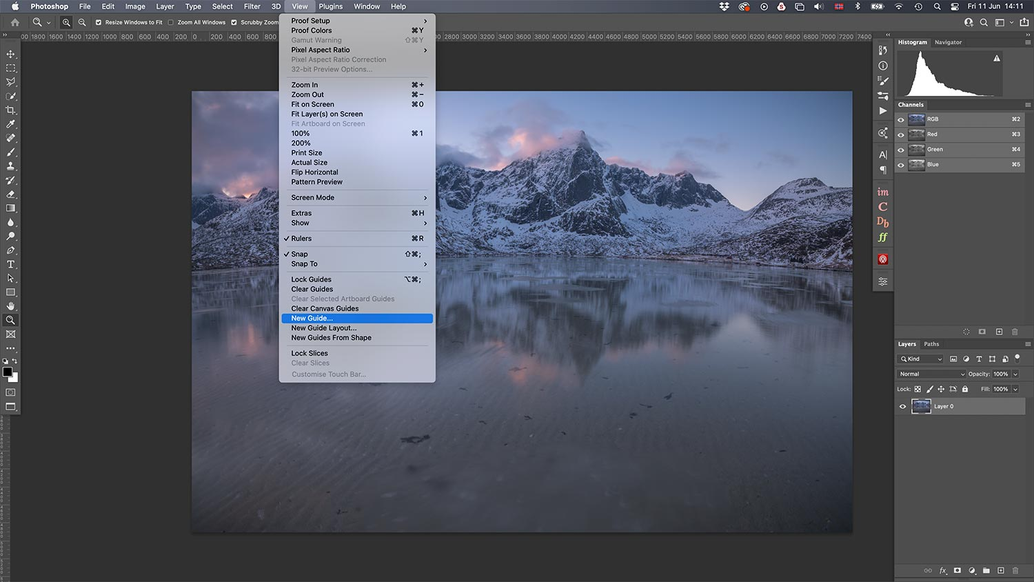 Create New Guide in Photoshop